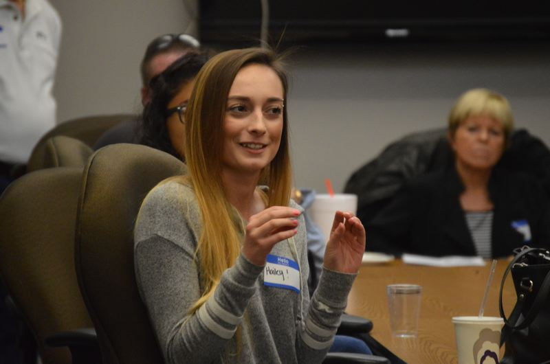 SPOTLIGHT PHOTO: COURTNEY VAUGHN - Hailey Barlow, a 2016 St. Helens High School graduate, talks about the advanatages of the Future Connect program.