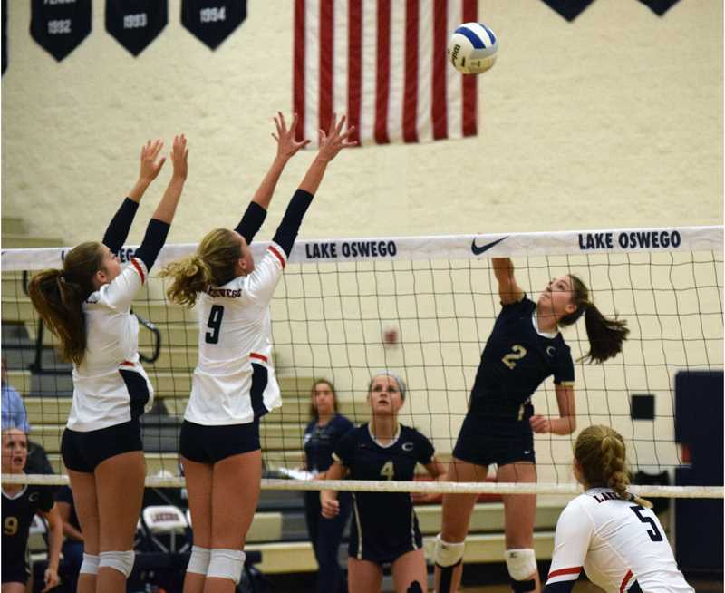 TANNER RUSS - Canby's volleyball team would fall in a hard fought battle against the Lake Oswego Lakers on Wednesday, Sept. 20 on the road.