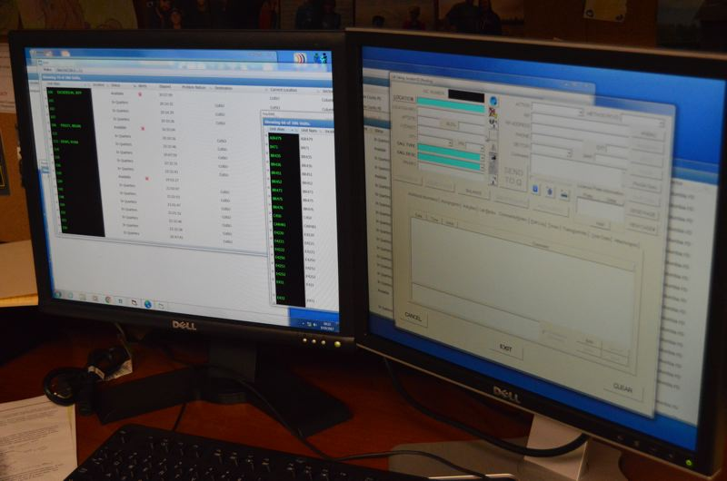 SPOTLIGHT PHOTO: NICOLE THILL - A close up look at the new dispatch interface that will be used starting next year. Different windows and tabs that represent 911 calls, avalaible emergency units and other critical information will look different than previous systems, but will allow dispatchers to work quicker and more efficiently.