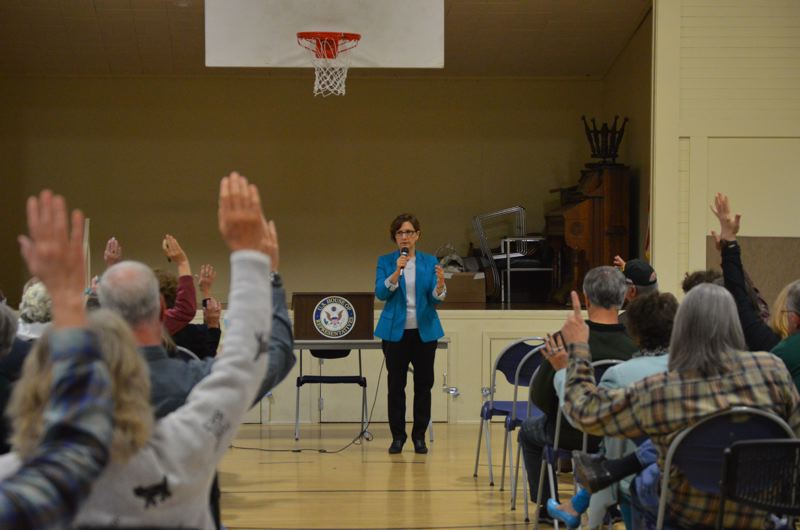 SPOTLIGHT PHOTO: NICOLE THILL - Congresswoman Suzanne Bonamici speaks at a town hall event in Columbia City on Thursday, Sept. 21. At one point Bonamic asked audience members to raise their hands if they supported the idea of a more universal health care policy.