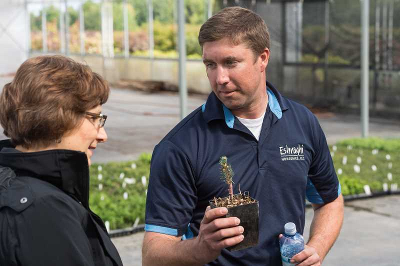 HILLSBORO TRIBUNE PHOTO: CHRISTOPHER OERTELL - Farm Manager Chris Lee shows Oregon Congresswoman Suzanne Bonamici a Dwarf Globe Blue Spruce during her tour at Eshraghi Nurseries in Hillsboro.