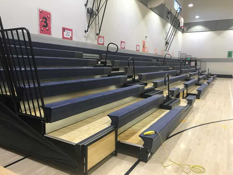 PHOTO COURTESY OF JIM BATES - School bond money was used to install bleachers in the gymnasium at Barnes Butte Elementary last week.