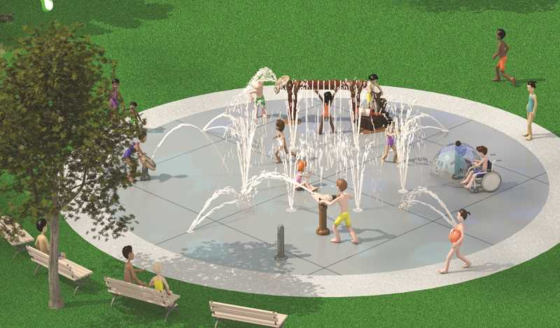 ARTISTIC RENDERING COURTESY OF RAIN DROP PRODUCTS, LLC - The artistic rendering above shows what the local splash pad is intended to look like once completed next spring. The Kiwanis Club of Prineville has raised most of the money needed, but is asking for help from the public.