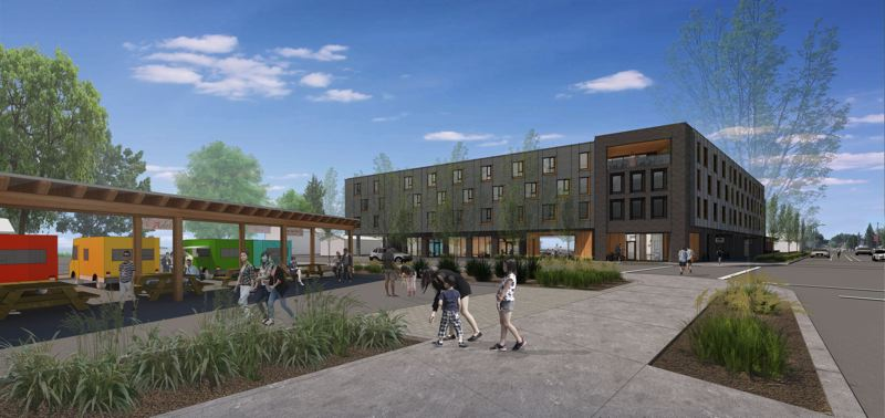 SUBMITTED: REACH COMMUNITY DEVELOPMENT - A rendering by Holst Architecture shows how 72Foster will fit into the neighborhood.