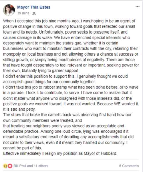 SCREENSHOT COURTESY OF JUSTIN DRYDEN - Thia Estes posted her resignation to Facebook on the night of Sept. 28.