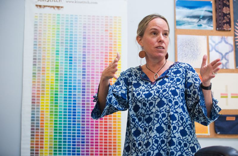 PAMPLIN MEDIA GROUP: JONATHAN HOUSE - Young shows the palette created to indicate exactly how colors look on off-white fabric.    She previously owned and ran a low-VOC architectural paint company. She introduced Breitbard to many people in Portlands creative and maker communities. Now she is a part time creative consultant taking classes to become a social worker.