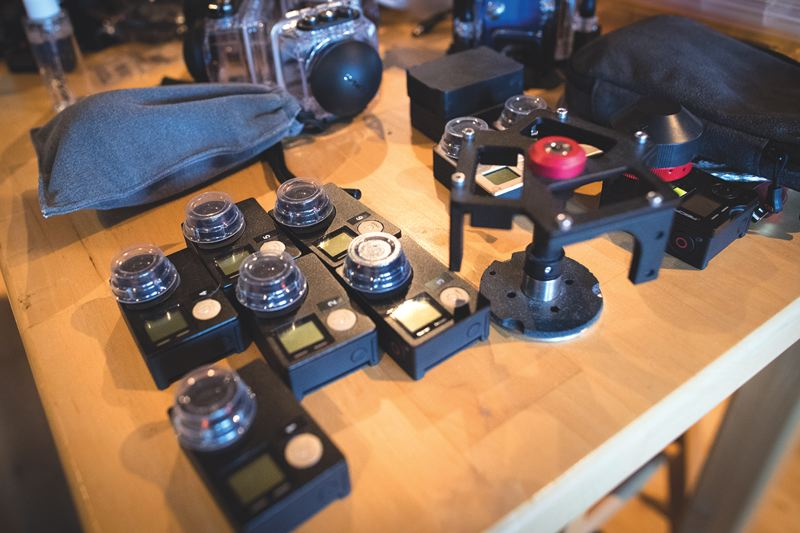 PAMPLIN MEDIA GROUP: JAIME VALDEZ - A typical table at 360 Labs, with various cameras in testing or in use. The days of duct taping two GoPros together are over.