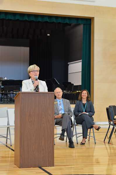 SPOKESMAN PHOTO: CLARA HOWELL - Superintendent of West Linn-Wilsonville School District Kathy Ludwig (left) gives a speech at the dedication. Mayor Tim Knapp (middle) and Principal Annikke Olson (right) are shown next to her.