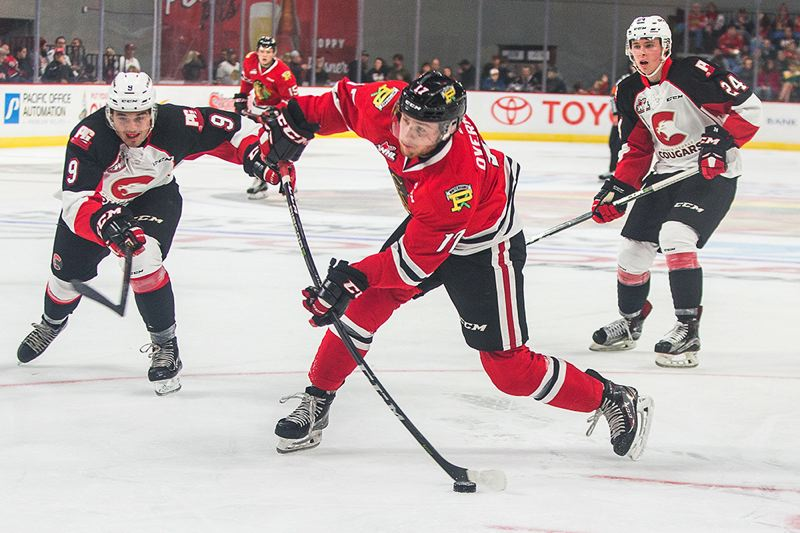 COURTESY: DAYNA FJORD/PORTLAND WINTERHAWK - Alex Overhardt of the Portland Winterhawks fires the puck during Sunday's game against Prince George.