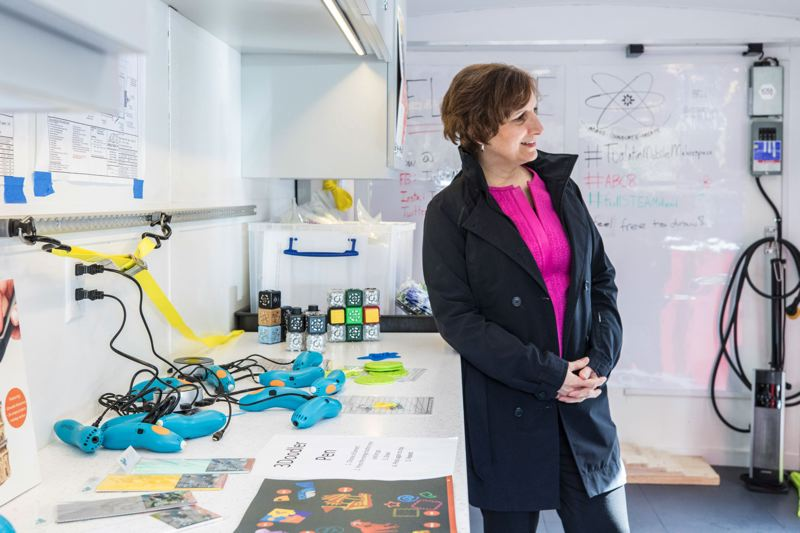 TIMES PHOTO: JONATHAN HOUSE - U.S. Rep. Suzanne Bonamici, D-Ore., tours Tualatin's Mobile Makerspace earlier this year.
