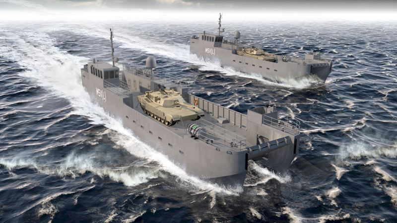 RENDERING COURTESY: VIGOR/US ARMY - Vigor will build the Army's new Maneuver Support Vessel (Light) for moving tanks and troops.