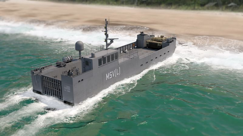 RENDERING COURTESY: VIGOR/ US ARMY - Vigor will build the Army's new Maneuver Support Vessel (Light) for moving tanks and troops.