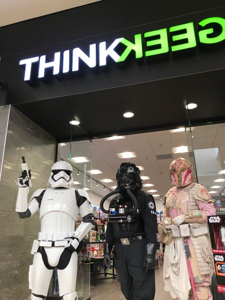 SUBMITTED PHOTO - Star Wars fans arrive in costume for the ThinkGeek store opening at Clackamas Town Center.