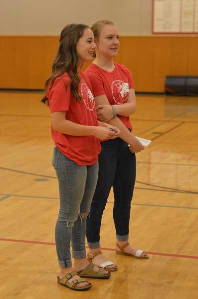 TIDINGS PHOTO: CLARA HOWELL - Peyton Miller (left) and Jenna Goodheart (right) are eighth-grade leaders that are helping ease the transition into middle school for sixth-graders.