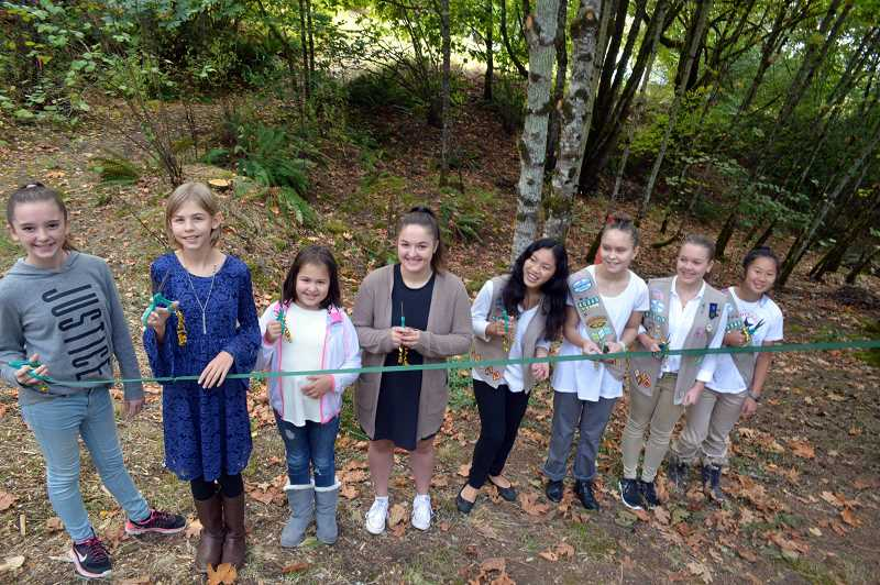 PHOTO COURTESY PHIL HOPKINS - West Linn youth cut ribbon at White Oak Savana Natural Area.