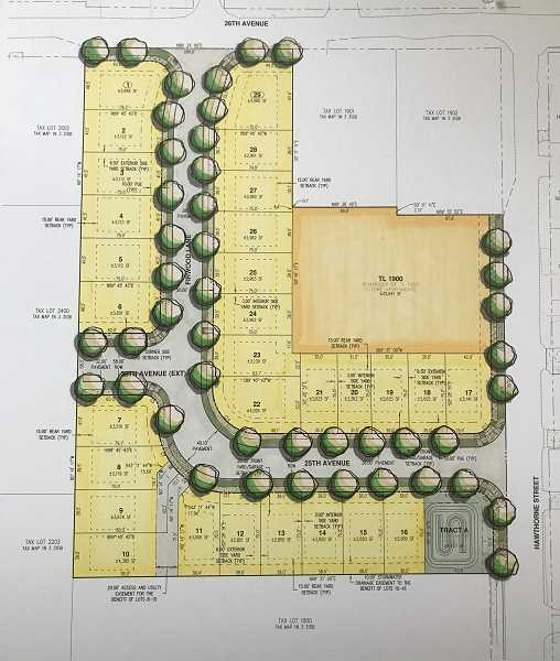 COURTESY GRAPHIC: CREEKWOOD HOMES - This rendering shows the planned layout of the subdivision, including a future apartment building on Hawthorne Street, about 100 yards south of 26th Avenue.