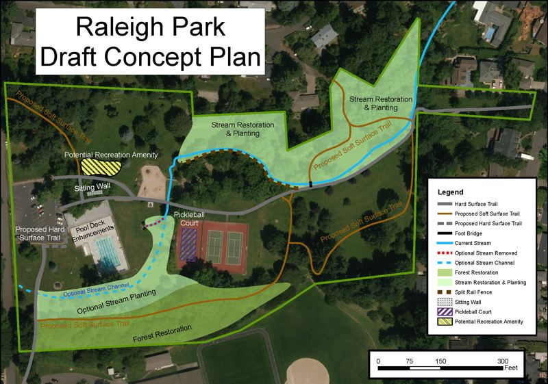 COURTESY OF THE TUALATIN HILLS PARK & RECREATION DISTRICT - A draft map shows proposed changes and improvements at Raleigh Park.