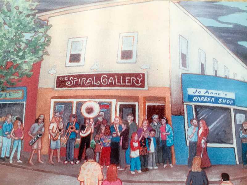 CONTRIBUTED PHOTO - The late Joe Cotter created this painting of the Spiral Gallery, which also depicts Estacada residents. Gallery members will celebrate the organization's 15th anniversary with a reception on Friday, Oct. 6.