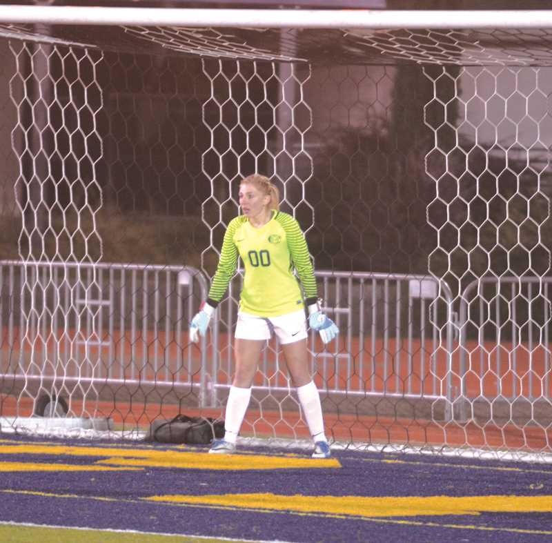 HERALD PHOTO: TANNER RUSS - Sophomore goalkeeper Halle Adair may not have had the perfect night, but made several spectacular saves against West Linn on Monday, Oct. 2.