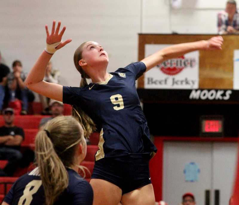 COURTESY PHOTO BRAD MOSHER - Banks' Dani Neuman goes up for a spike during the Braves' match with Tillamook Thursday, Sept. 28.
