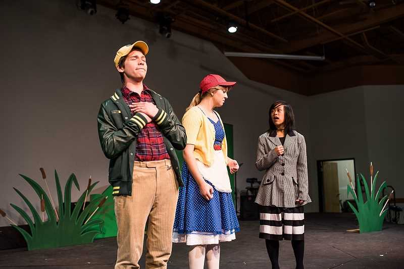 COURTESY PHOTOS: KAREN HAWLEY - Photo of 'Honk! A Musical Tale of 'The Ugly Duckling'' actors Simeon Johnson (left), Lauren Binney (middle), and Kasey Stadel