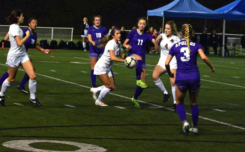 TIMES FILE PHOTO - Sunset sophomore midfielder Stephanie Niebergall and the Apollos cruised past Southridge last week thanks to three Ally Thom scores.