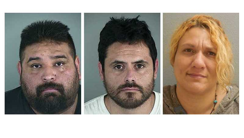 SUBMITTED PHOTOS - From left, Mauricio Lima and Isaac Dominguez, both of Madras, and Sherry Harper, of Redmond, were arrested during a drug trafficking crackdown Sept. 27.