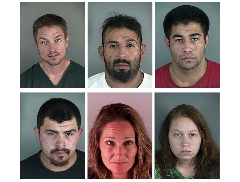 SUBMITTED PHOTOS - Back row, left to right, Preston Mortensen, of Bend, Leonel Barajas, of Madras, Desmond Plazola, of Warm Springs, and front, left to right, Trever Billingsley, of Madras, Marelena Biever, of Redmond, and Heather Boynton, of Madras, all face federal charges for conspiracy to distribute methamphetamine, or possession with intent to distribute methamphetamine, following a series of arrests Sept. 27.
