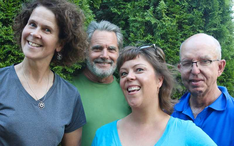 Pictured from left are Ingrid Nixon, Will Hornyak, Kriya Kaping and Lake Oswegos John Wylder, who as members of Portland Storytellers Guild present Edge of Illusion: Magic, Mystery and Moments of Surprise Saturday at Clinton Street Theater. Tickets are available online and at the door.