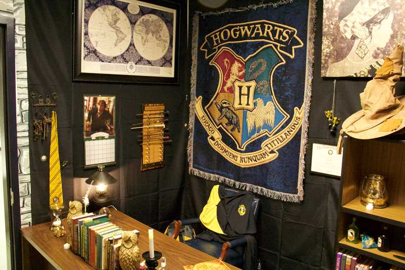 COURTESY PHOTO - Hubler spent weeks decorating his classroom with faux-rock walls, a starry ceiling and tapestries of Hogwarts houses. The decorations have received national attention.