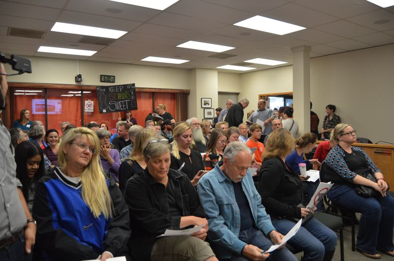 SPOTLIGHT PHOTO: NICOLE THILL - The St. Helens City Council chambers were packed Wednesday night, Oct. 4, during a public forum to discuss a proposed sugar-sweetened beverage tax.