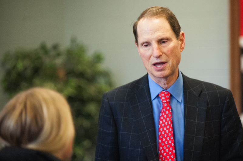 FILE PHOTO - Sen. Ron Wyden chats with a Centennial High School student.