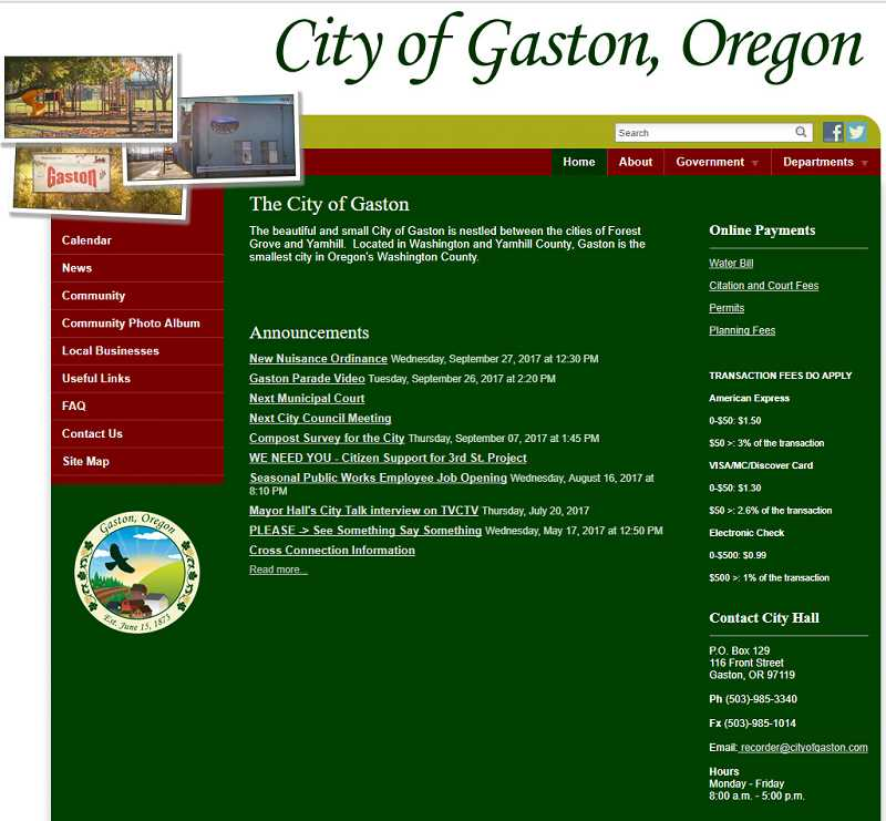 NEWS-TIMES PHOTO - The city of Gaston activated a website for the first time earlier this year. Now locals have the option to pay bills online.