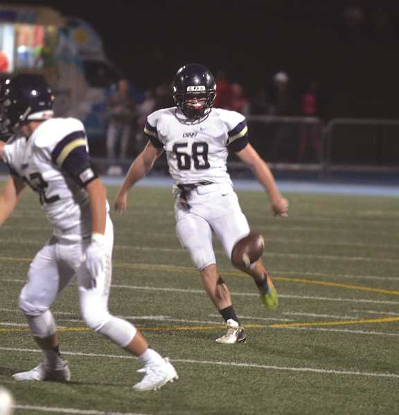 HERALD PHOTO: TANNER RUSS - Canby kicker Dalton Sherrill would leave the game against the Pacers with an ACL injury. Canby would lose to Lakeridge 46-14 on Oct. 6.
