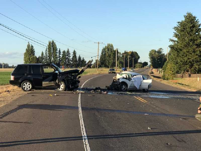 COURTESY PHOTO: OREGON STATE POLICE - A photo from the scene of the collision.