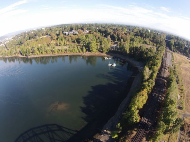TRAVIS WILLIAMS/WILLAMETTE RIVERKEEPERS - A cove along the Willamette river, in the Portland Harbor Superfund site.
