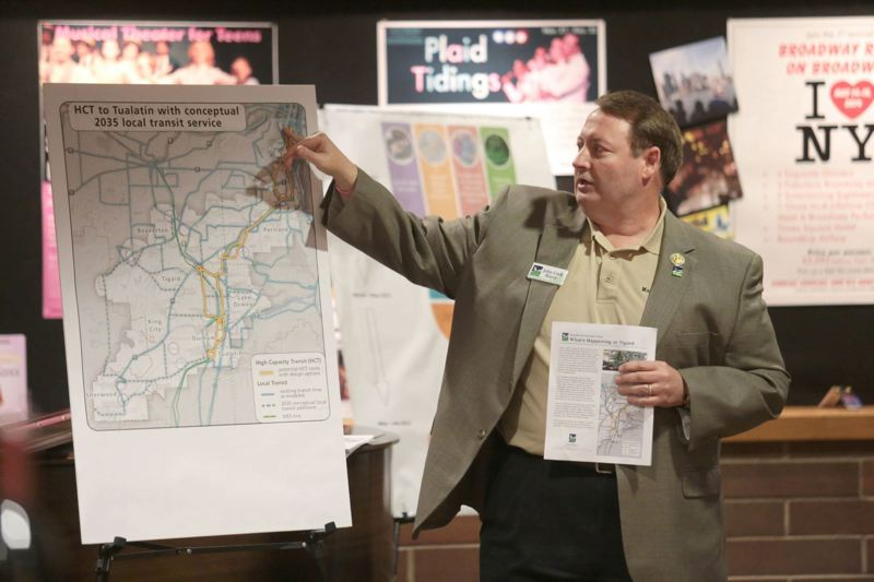 PAMPLIN MEDIA GROUP FILE PHOTO - Tigard Mayor John Cook explained the proposed alignment of the Southwest Corridor MAX line during a town hall on the project.