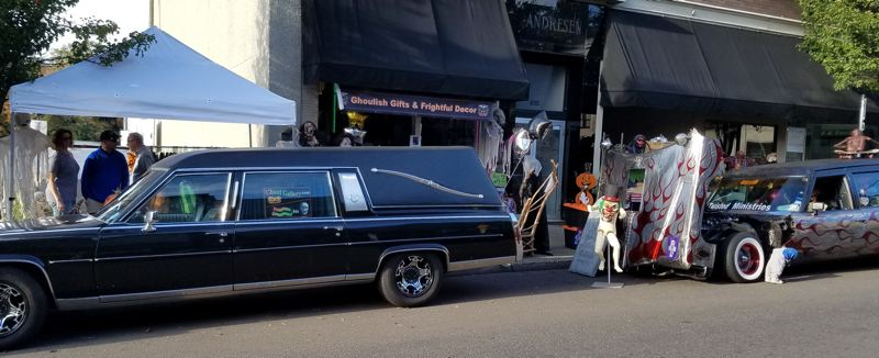 SUBMITTED PHOTO - Hearses ready to drive you to your final resting destination wait outside the Ghoul Gallery, 619 Main St., Oregon City.