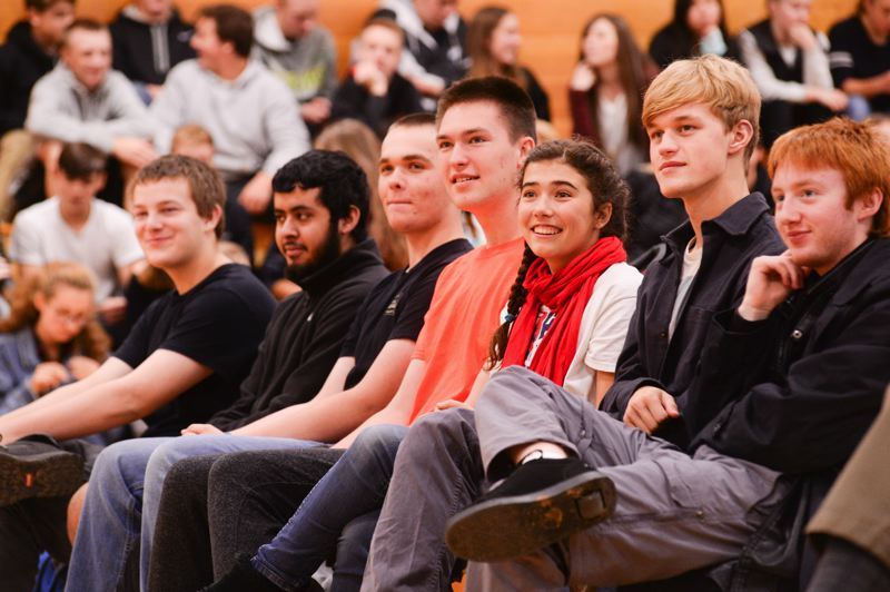OUTLOOK PHOTO: JOSH KULLA - Corbett High School students listen attentively during a town hall meeting with Sen. Ron Wyden on Monday, Oct. 9.