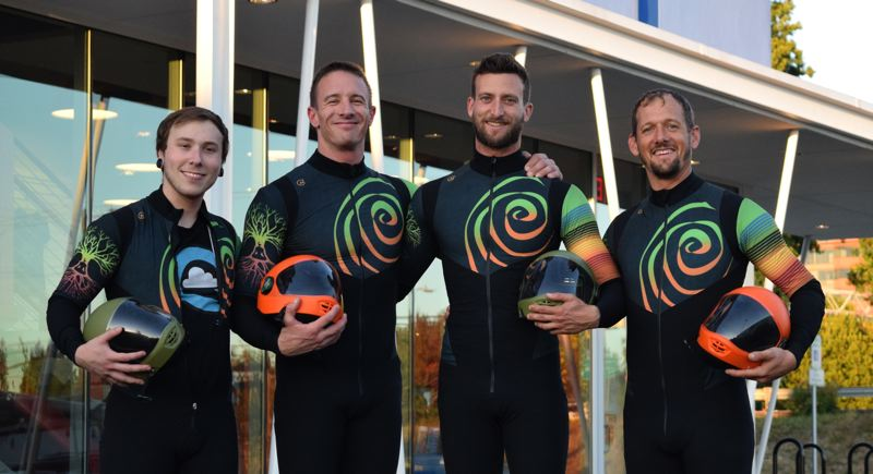 COURTESY PHOTO - The national champion Prana Vayu indoor skydiving team from Portland is: (from left) Cole Fehr, Dave Retzlaff, Timmy Hunckler and Jeff Dimock.