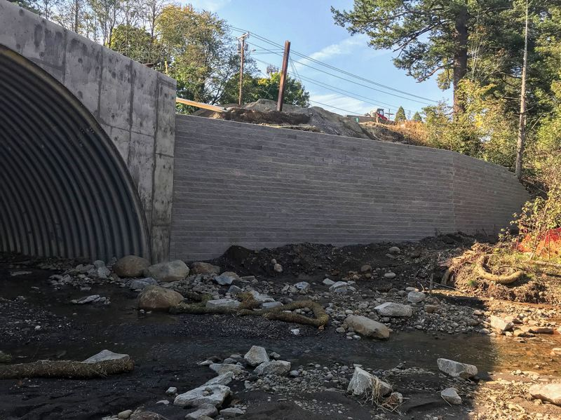 CONTRIBUTED PHOTO - A photo taken on Friday, Oct. 6, shows the retaining wall on the downstream side of Beaver Creek in Troutdale.