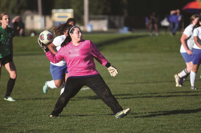 PHIL HAWKINS - Gervais goalkeeper Veronica Esquivel came up with a number of saves in the Cougars' 2-1 loss to Salem Academy on Thursday.