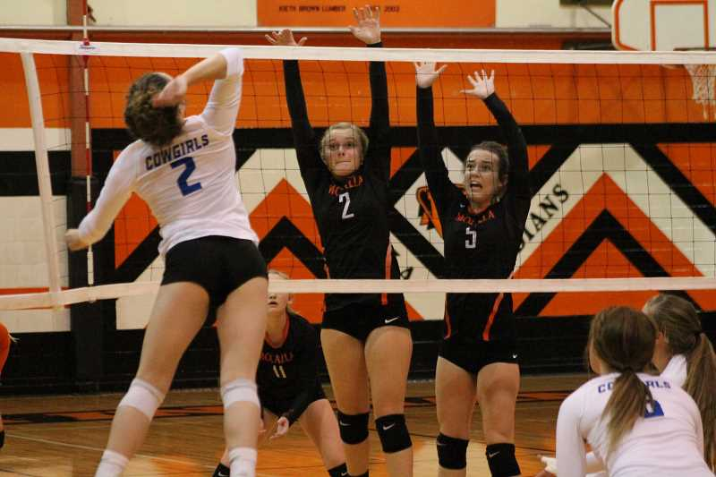 PIONEER PHOTO: CONNER WILLIAMS  - Molalla junior Jaden Beyer (2) and sophomore Georgia