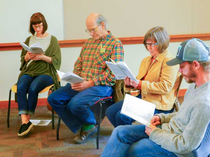 ESTACADA NEWS PHOTO: EMILY LINDSTRAND - Members of the Performing Arts Group of Estacada will soon stage a reproduction of the 1938 radio drama The War of the Worlds as a benefit for the Estacada Community Centers Meals on Wheels program.