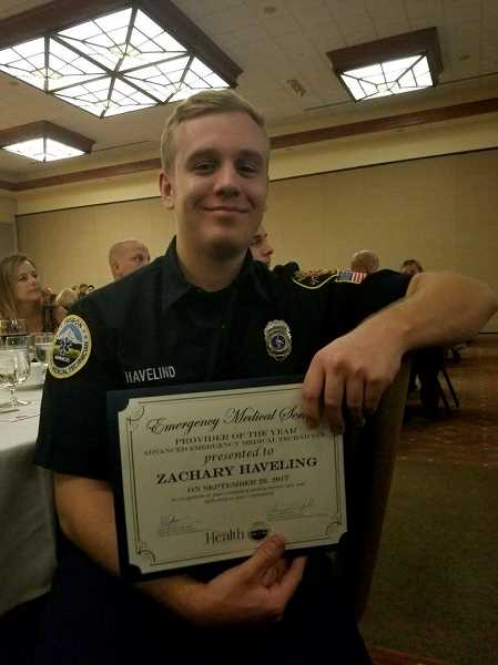 COURTESY PHOTO: BANKS FIRE DISTRICT 13 - Banks Fire volunteer Zachary Haveling won the Oregon Advanced Emergency Medical Technician of the Year Award.