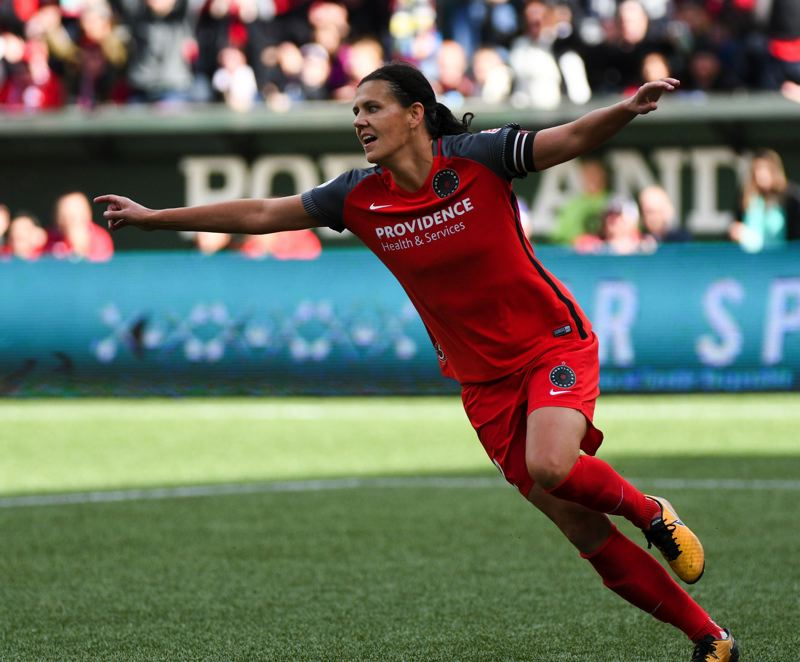 TRIBUNE PHOTO: DIEGO G. DIAZ - Christine Sinclair of the Portland Thorns celebrates her goal during last week's NWSL semfinals victory, 4-1, over the Orlando Pride.
