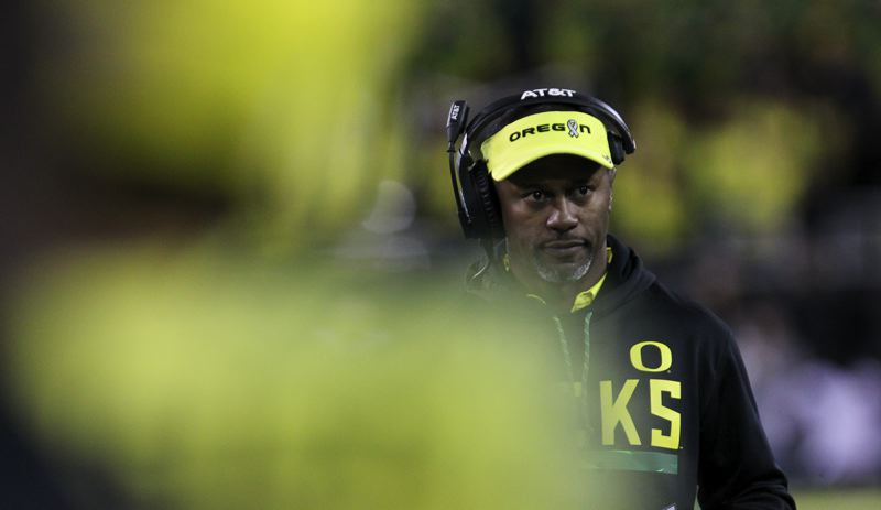 TRIBUNE PHOTO: DAVID BLAIR - Oregon coach Willie Taggart watched the Ducks struggle offensively last week at Washington State. This week, the game plan also must include a way to contend with Stanford star running back Bryce Love.