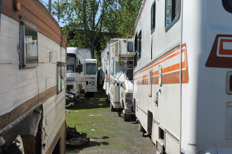 TRIBUNE PHOTO: LYNDSEY HEWITT - Towing lots in the city have been full, including at Sergeants Towing, which operates on a contract with the Bureau of Transportation. Portland has been working to figure out a solution to difficult cycle of RV ownership and how it intertwines with the city's homeless crisis.