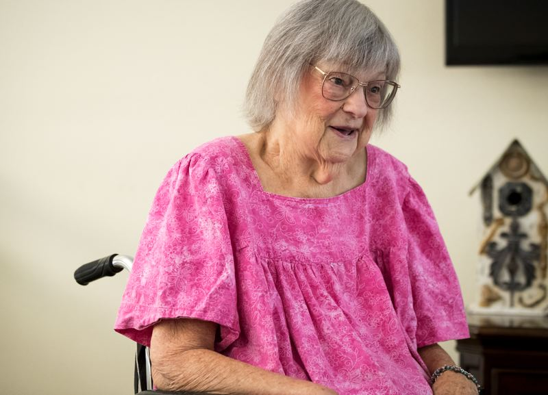 TIMES PHOTO: JAIME VALDEZ - Although Betty Hiner has spent time in the hospital and had to move into assisted living over the past year, she still has a sharp wit, as well as strong affection for her care providers at Landmark Health.