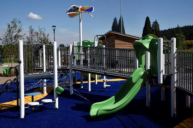 PHOTO COURTESY OF TUALATIN HILLS PARK AND RECREATION DISTRICT - An all-inclusive playground is one of many features of a new park in Aloha.
